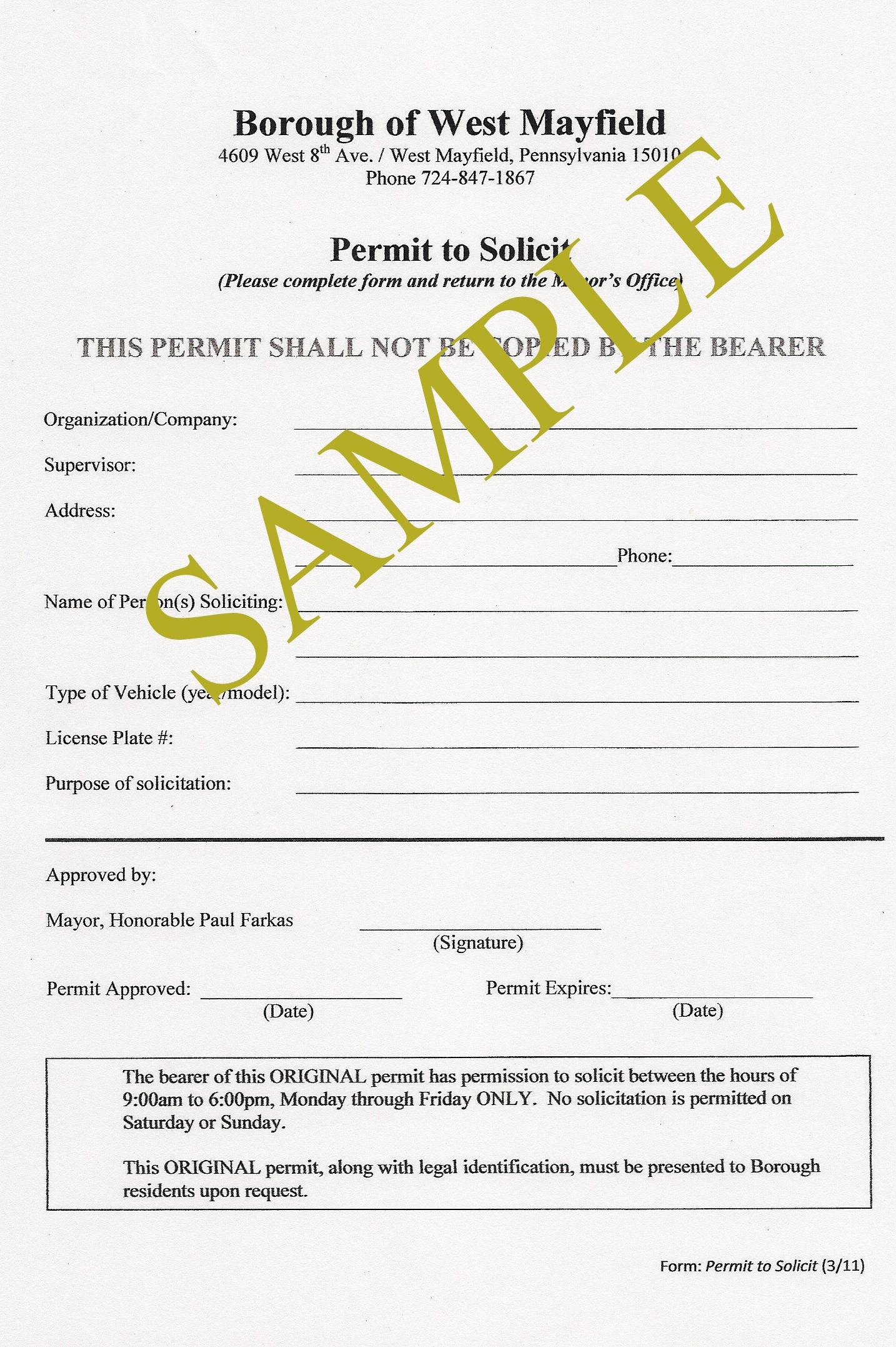 Sample Solicitation Permit | West Mayfield Borough With Business License Samples