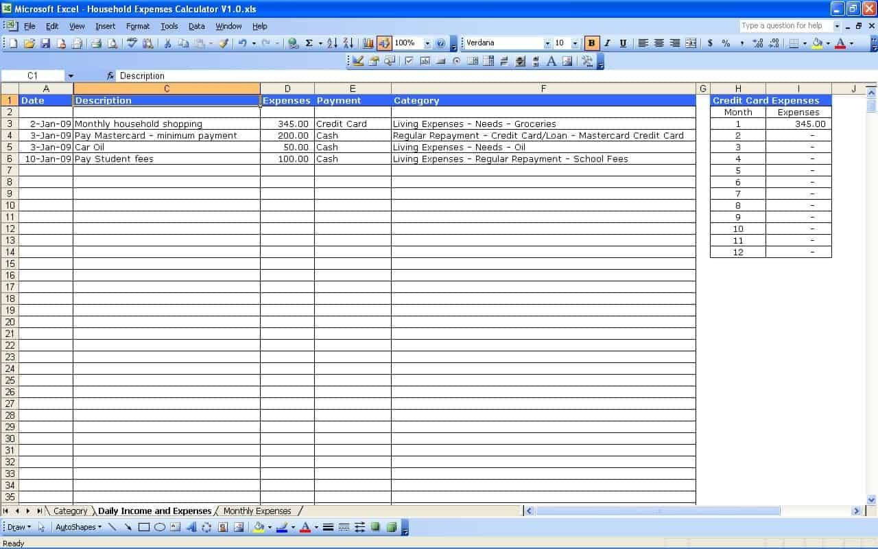 Sample Spreadsheet For Small Business   Durun.ugrasgrup Intended For Monthly Expenses Spreadsheet For Small Business