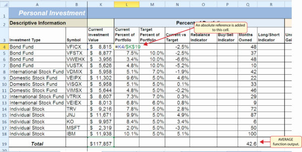 Sample Stock Portfolio Spreadsheet Awesome Investment Portfolio To Asset Allocation Spreadsheet Template