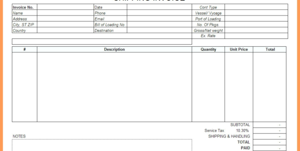 Shipping Invoice Template (1) Invoice Template For Limited Company In Shipping Invoice Template