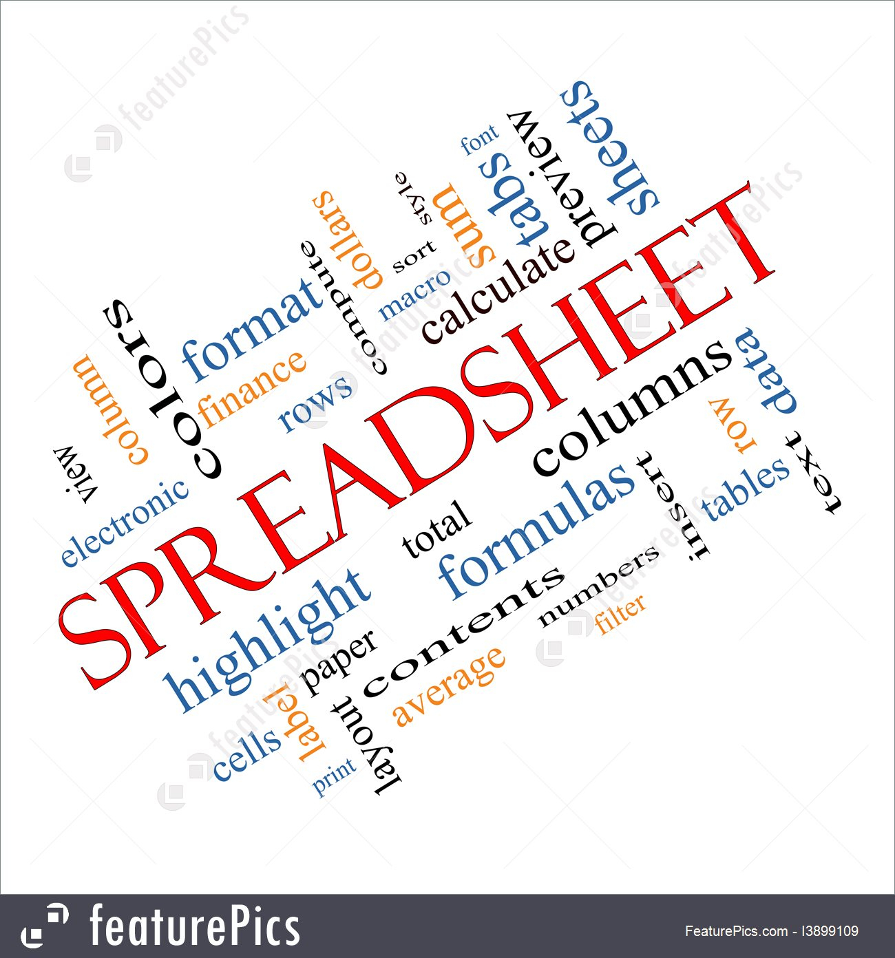 Signs And Info: Spreadsheet Words   Stock Illustration I3899109 At Inside Cloud Spreadsheet