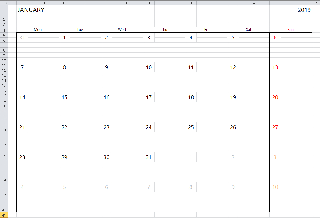 Simple 2018 Excel Calendar Template Throughout Downloadable Spreadsheets