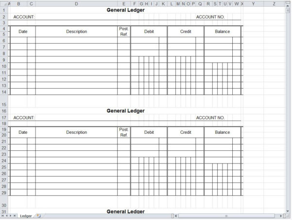 Small Business General Ledger Template Generalledger Accurate And Small Business General Ledger Template