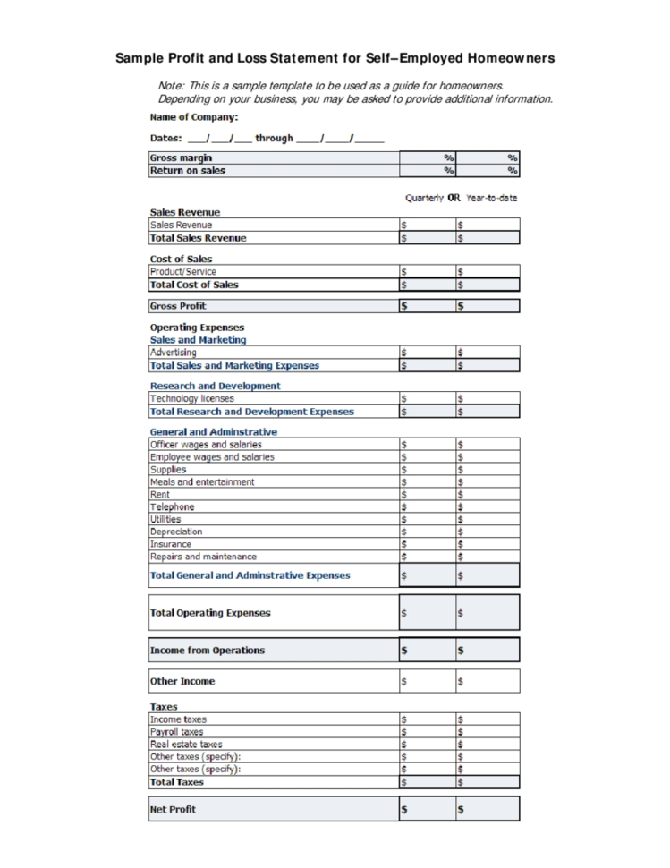 Small Business Income Statement Template Image Collections To Income Statement Template For Small Business