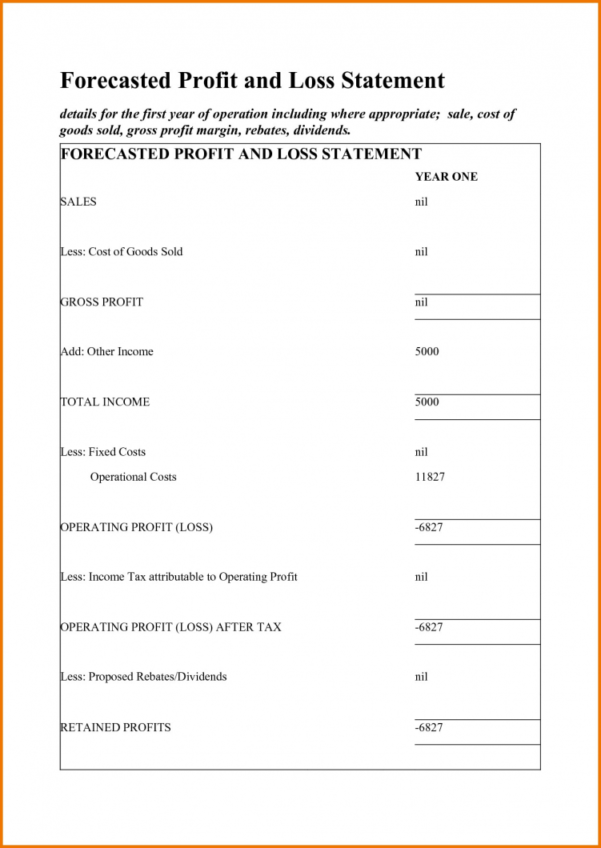 Small Business Income Statement Template Profit And Loss For Self In Income Statement Template For Small Business