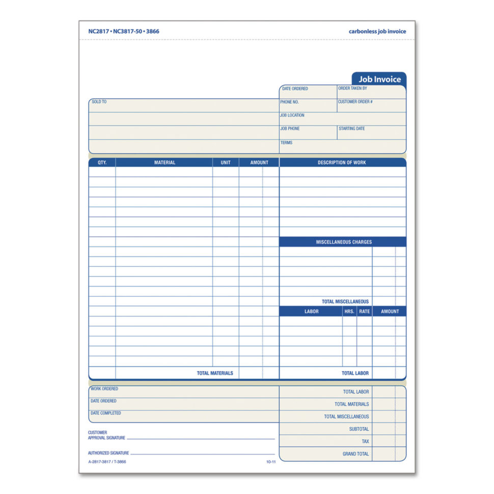 Snap Off Job Invoice Formtops™ Top3866 | Ontimesupplies With Job Invoice Template