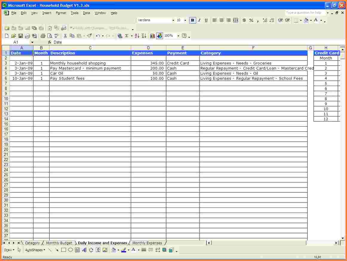 Spreadsheet For Monthly Expenses As Excel Spreadsheet Free Online To Spreadsheet For Household Expenses