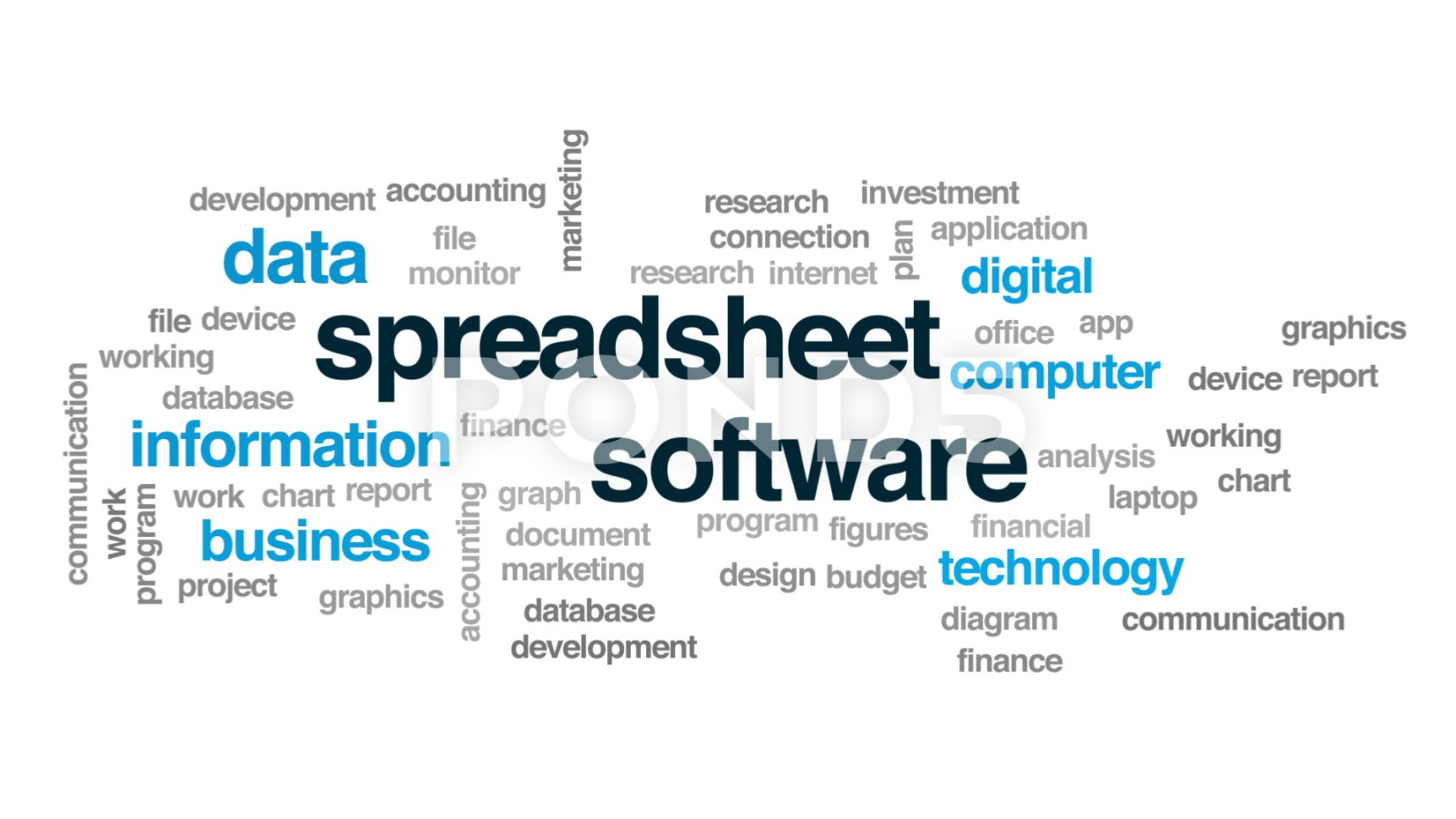 Spreadsheet Software Animated Word Cloud, Text Design Animation With Cloud Spreadsheet