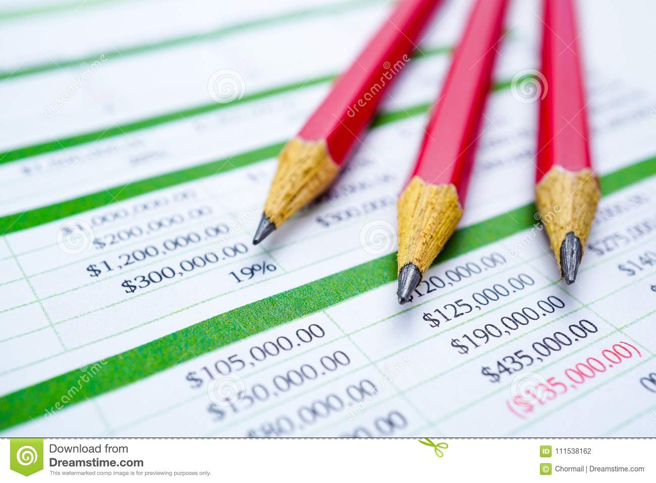 Spreadsheet Table Paper With Pencil. Finance Development, Banking And Spreadsheet Development