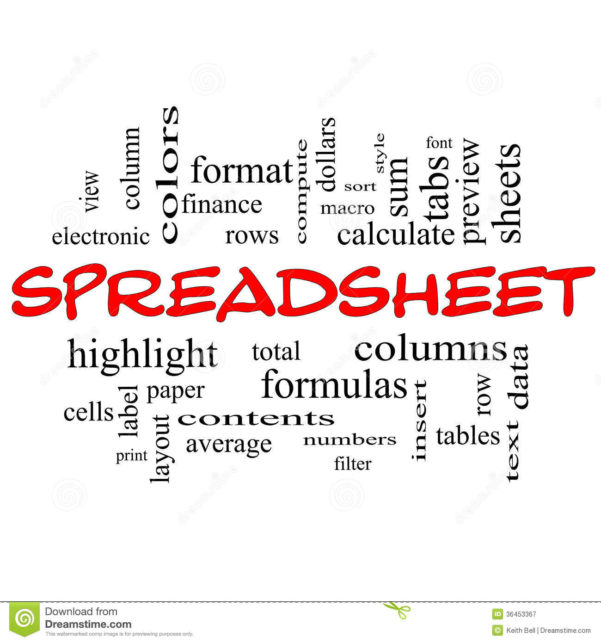 Spreadsheet Word Cloud Concept In Red Caps Stock Illustration For Spreadsheet Cloud