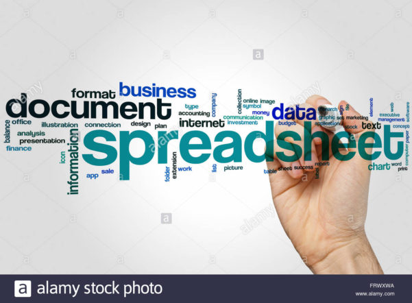 Spreadsheet Word Cloud Concept With Document Data Related Tags Stock In Cloud Spreadsheet
