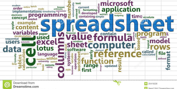 Spreadsheet Wordcloud Stock Illustration. Illustration Of Contents With Word Spreadsheet