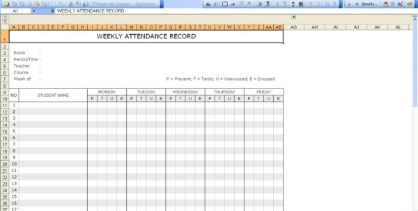 Student Attendance Record | Excel Templates Intended For Attendancetracking Spreadsheet Template