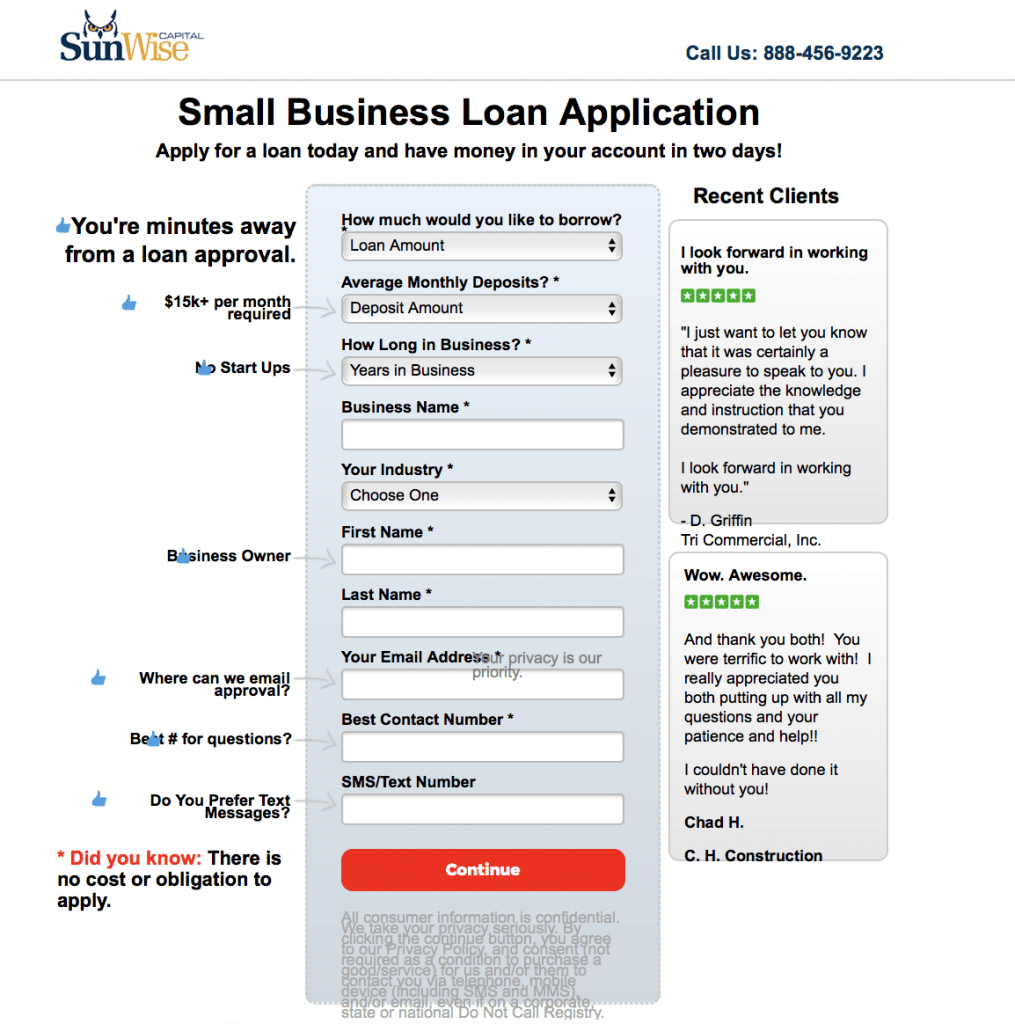 Sunwise Capital Small Business Loans Review October 2018 | Finder Inside Apply For Small Business