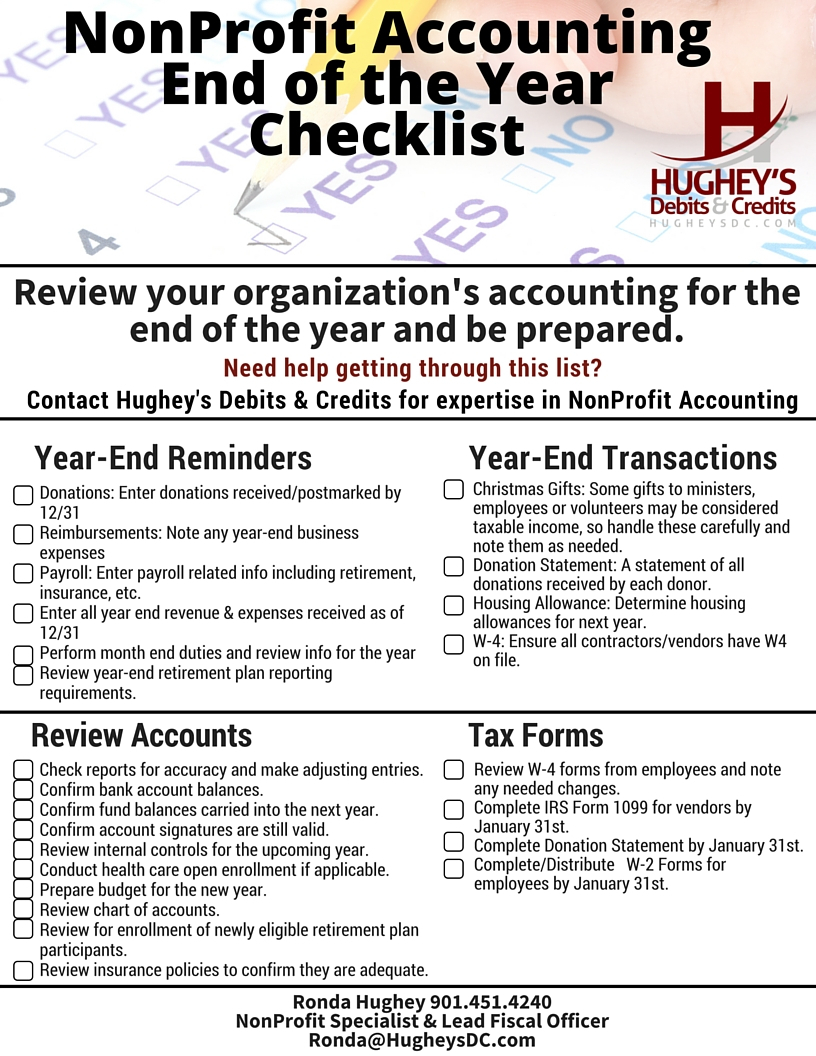 Tax Forms | Hughey's Debits & Credits With Month End Accounting Checklist Template