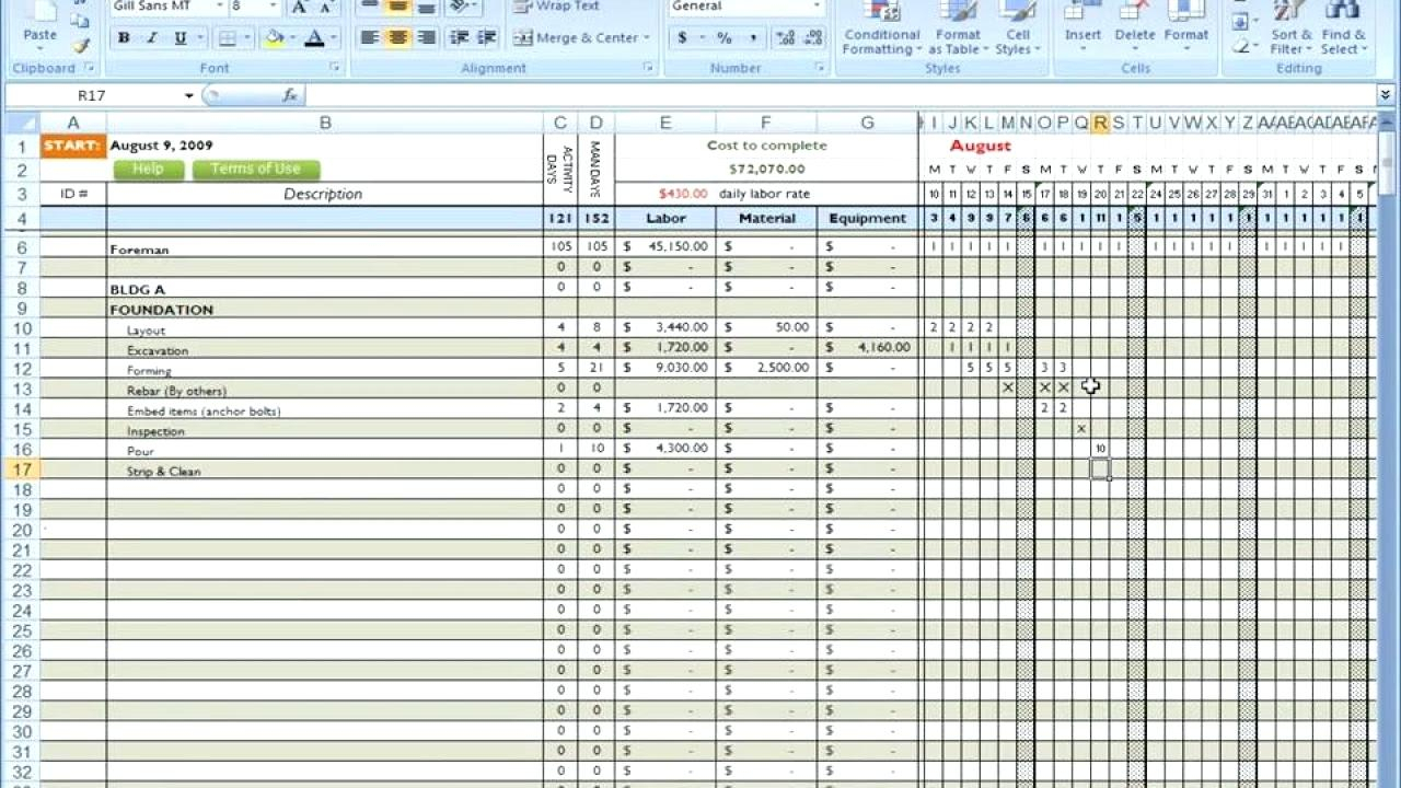 Template: Cost Template With Excel Spreadsheet For Construction Estimating