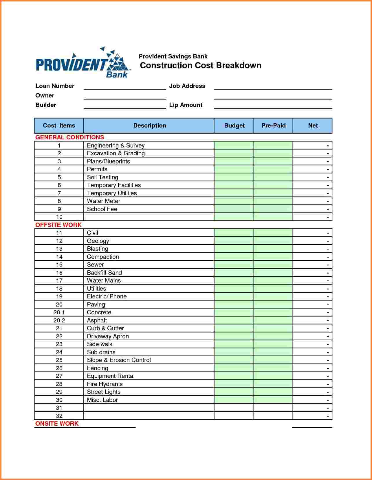Templates Construction Cost Breakdown Spreadsheet | Homebiz4U2Profit In Cost Breakdown Template