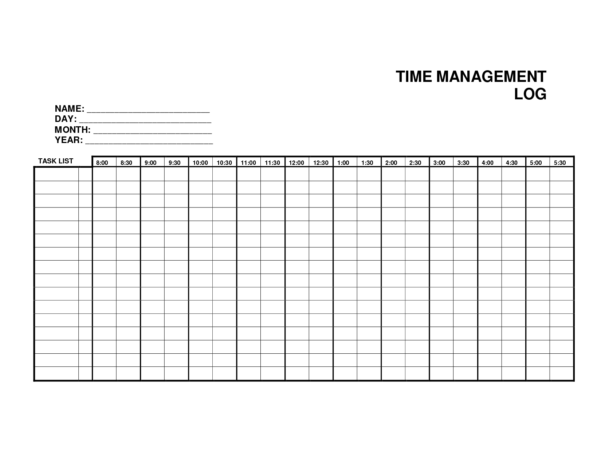 Time Management Forms Weekly Log Template 28 5 Sheet Templates For To Time Management Sheet Template
