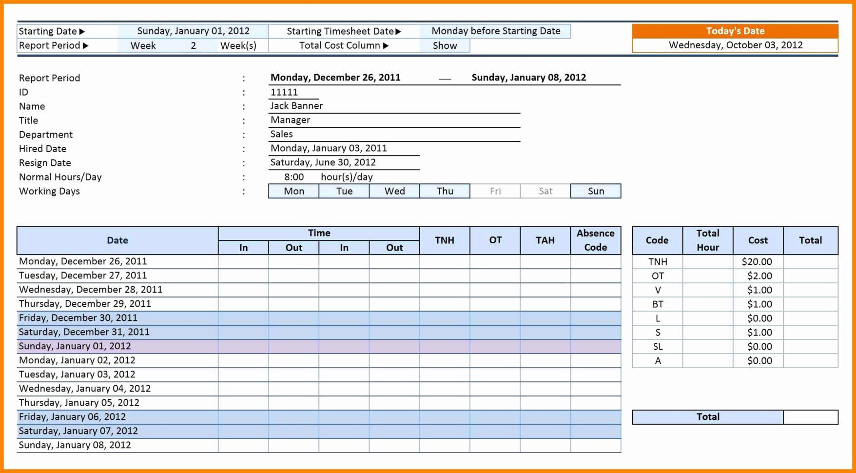 Time Management Sheet Template
