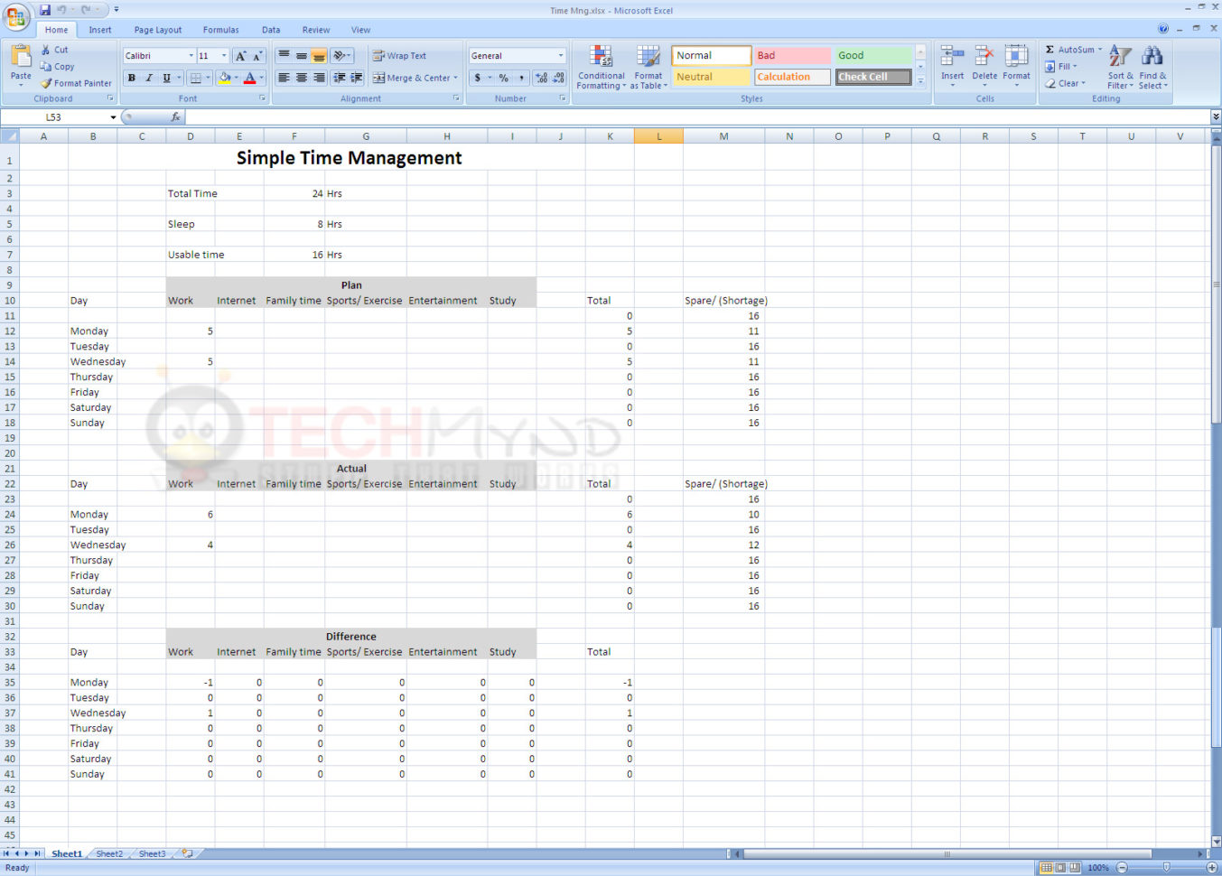 Time Management Using Simple Excel Sheet   Freebies   Techmynd For Time Management Excel Template