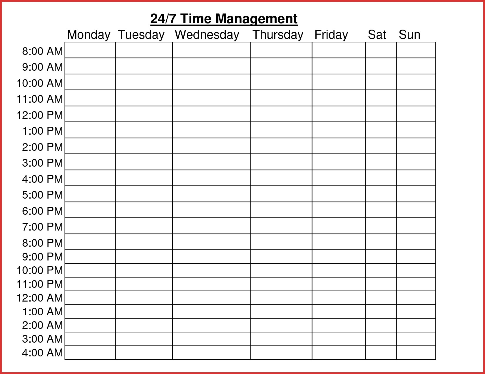 Time Management Worksheet Word Document Inspirationa Hourly Chart To Time Management Charts Templates