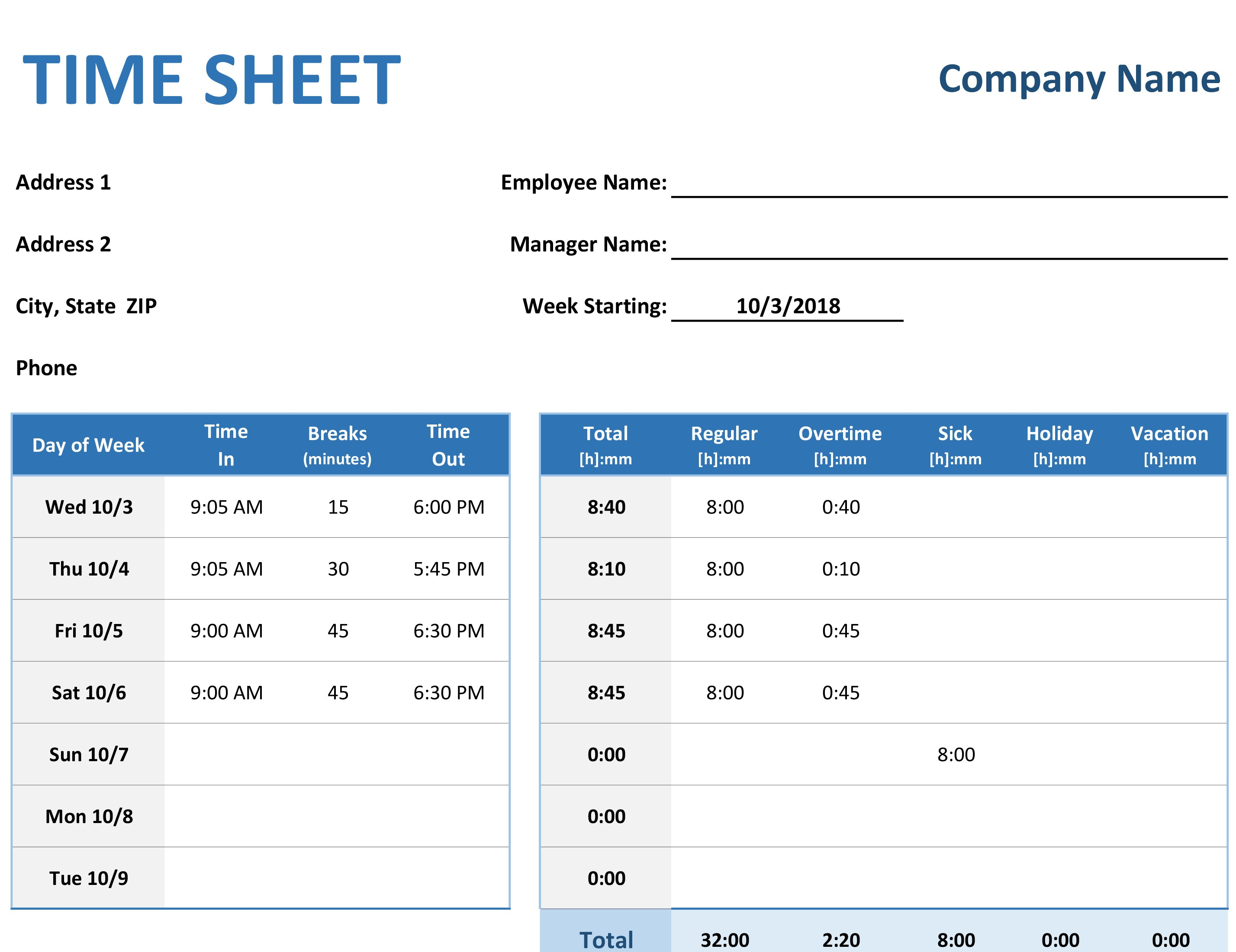 Time Sheet With Time Tracking Excel Template