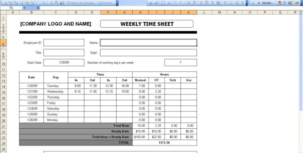 Time Sheets | Excel Templates Within Payroll Weekly Timesheet Template
