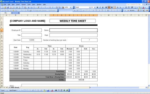 Time Sheets   Excel Templates Within Payroll Weekly Timesheet Template