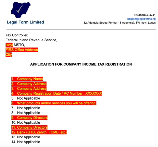 Tin Application Letter With Firs Nigeria   Legal Forms Inside Business Registration Application Form