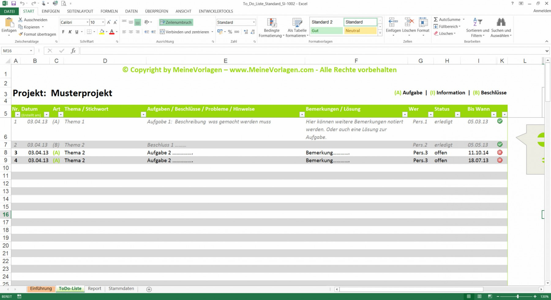 To Do Liste Excel Vorlage   Pendenzenliste Aufgabenliste Muster Für Inside Excel To Do List Tracker
