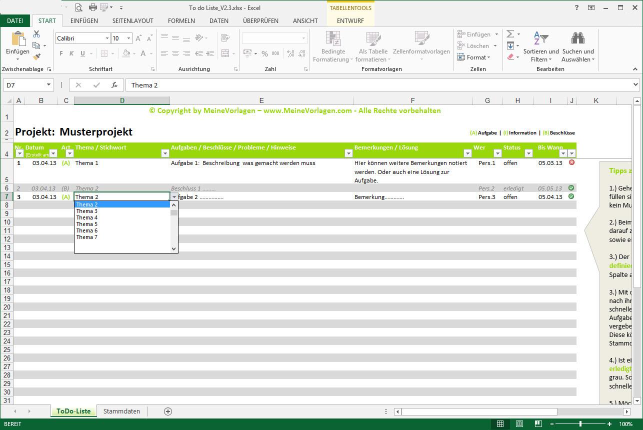 To Do Liste Excel Vorlage   Pendenzenliste Aufgabenliste Muster Für Within Excel To Do List Tracker