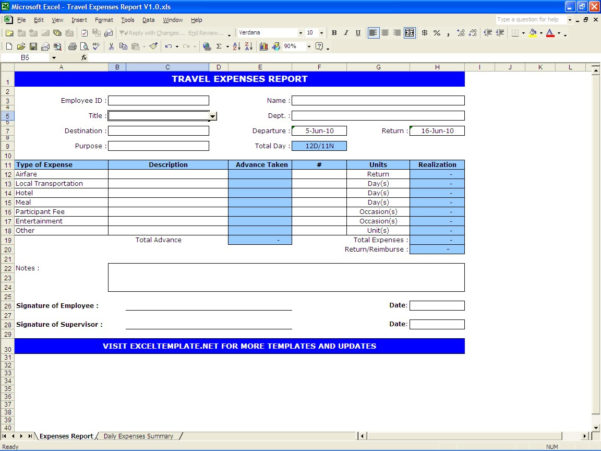 Travel Expenses Report | Excel Templates And Expense Report Form Excel