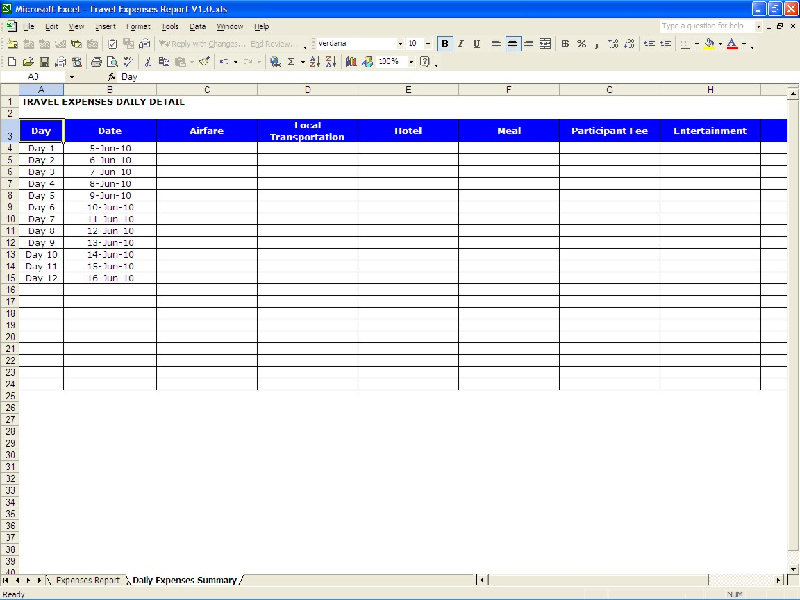 Travel Expenses Report | Excel Templates in Business Travel Expense Template