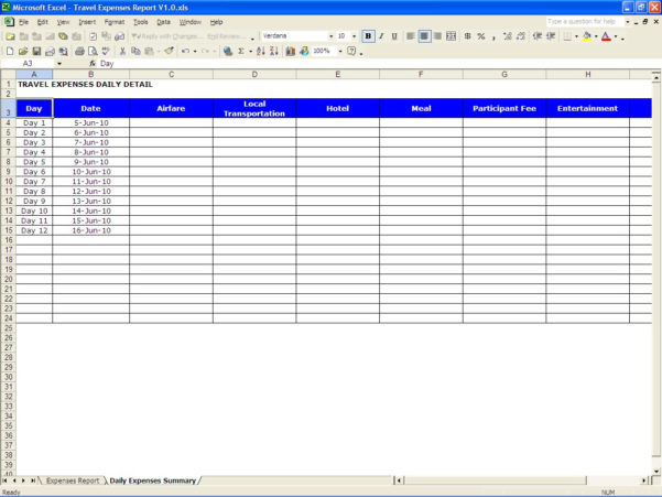 Travel Expenses Report | Excel Templates Within Business Trip Expenses Template