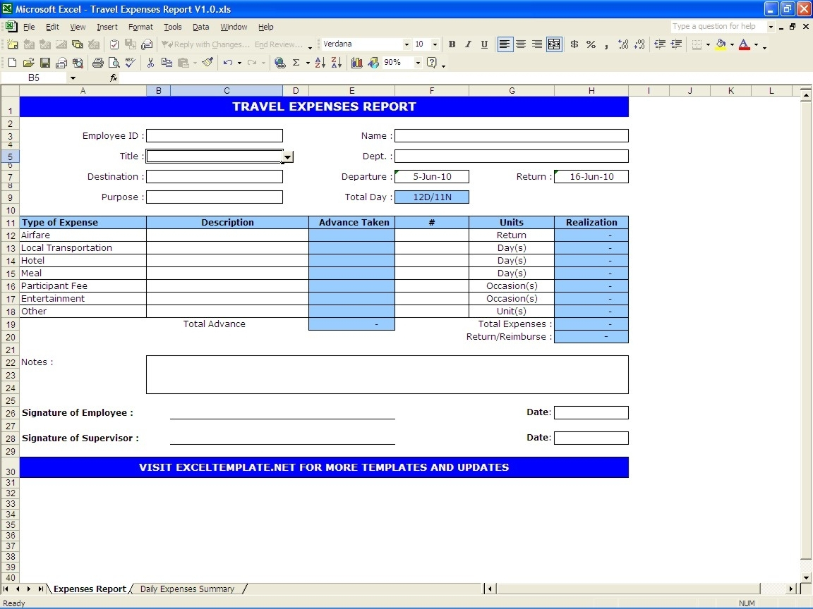 Travel Expenses Report | Excel Templates Within Business Trip Throughout Excel Business Travel Expense Template