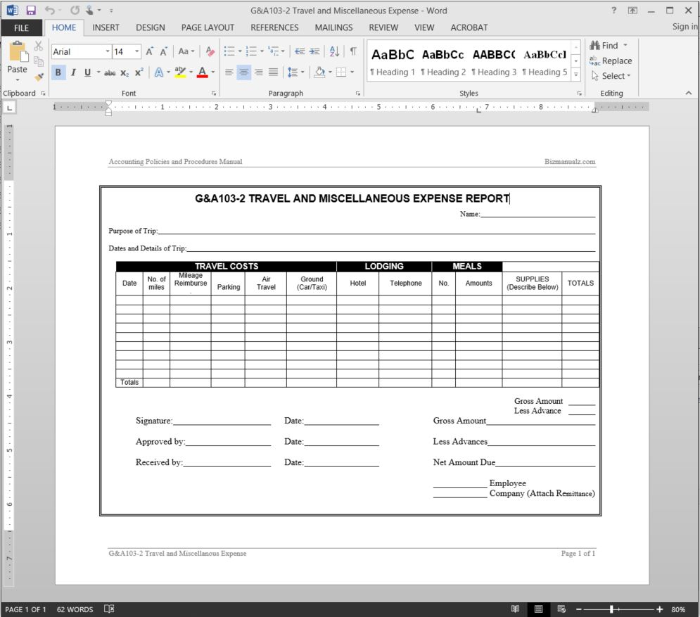 Travel Miscellaneous Expense Report Template In Company Expense Report