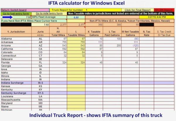 Trucking Driver Fleet Spreadsheet Ifta Fuel Tax Truck Report Full With Ifta Spreadsheet