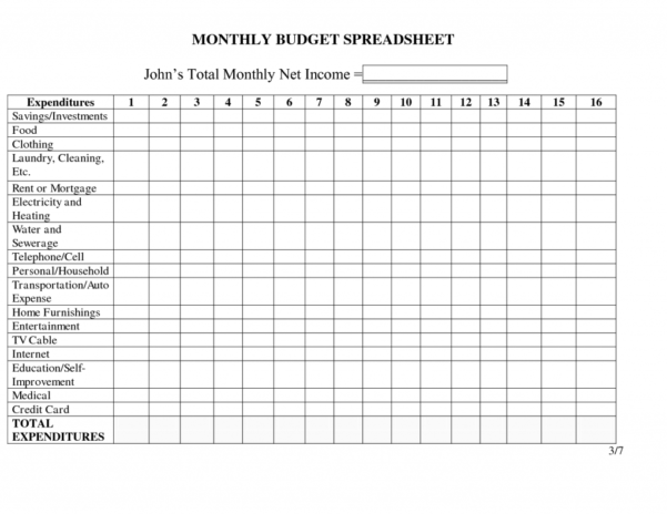 Ungewöhnlich Free Printable Monthly Budget Printables Worksheets Inside Monthly Spreadsheets Household Budgets