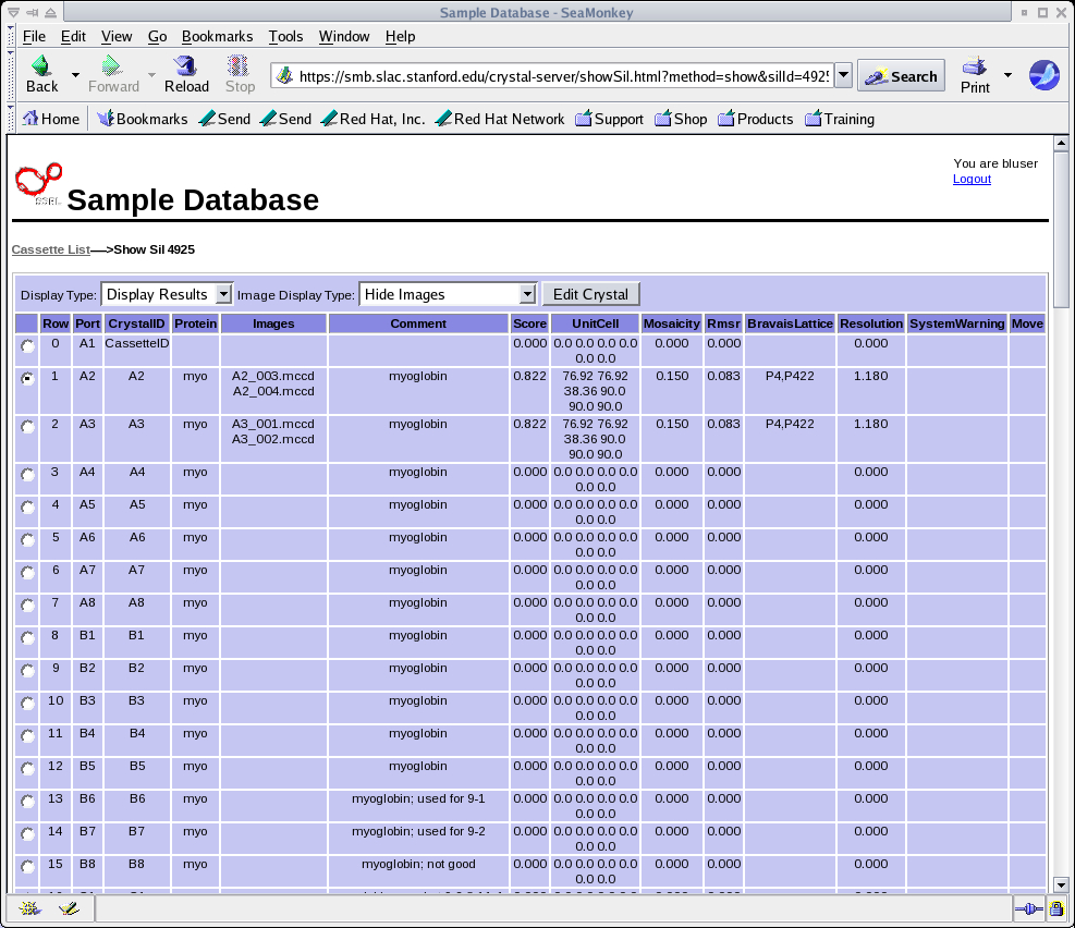 Using The Ssrl Automated Mounting (Sam) System In Example Of A Spreadsheet With Excel