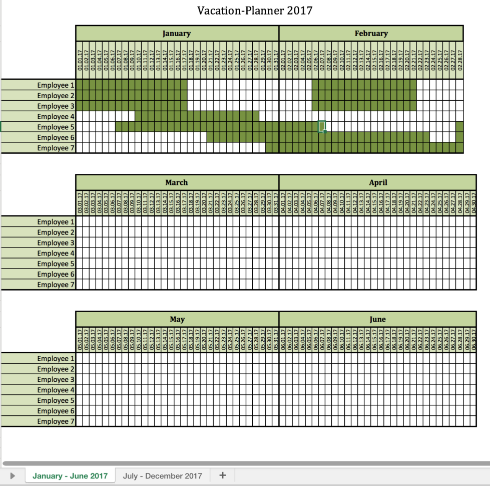 Vacation Planner 2017   Excel Templates For Every Purpose For Tracking Employee Time Off Excel Template