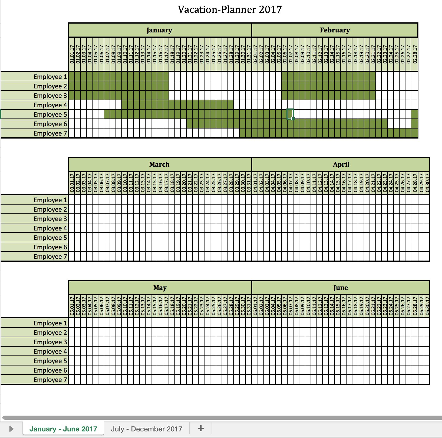 Vacation Planner 2017 | Excel Templates For Every Purpose For Tracking Employee Time Off Excel Template