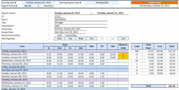 Vacation Time Tracking Spreadsheet Awesome Excel Timesheet Intended For Employee Time Tracking Excel Template