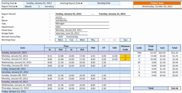 Vacation Time Tracking Spreadsheet Awesome Excel Timesheet Within Employee Time Tracking Spreadsheet