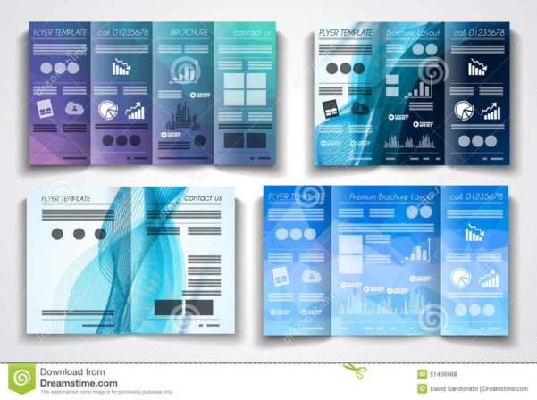 Vector Tri Fold Brochure Template Design Or Flyer Layout Stock Inside Business Applications Template