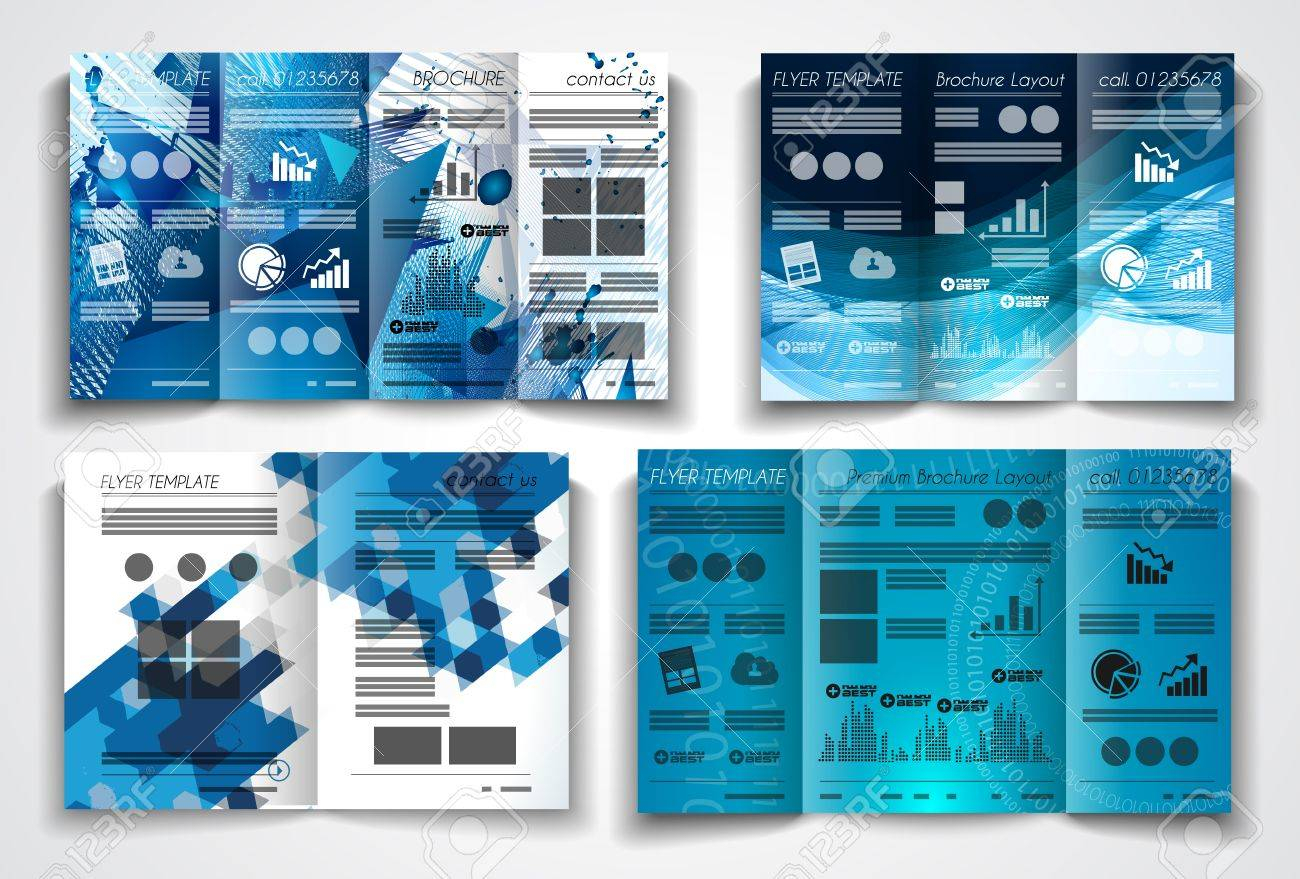 Vector Tri Fold Brochure Template Design Or Flyer Layout To Use For Intended For Business Applications Template