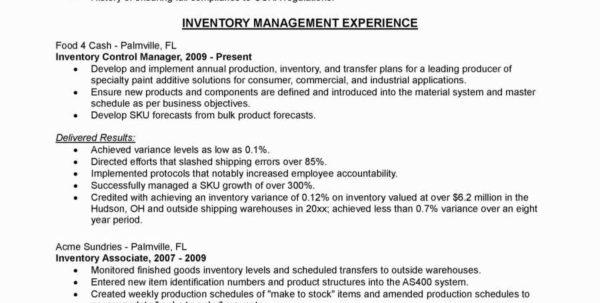 Warehouse Manager Resume Sample Elegant Warehouse Inventory Intended For Warehouse Inventory Management Spreadsheet