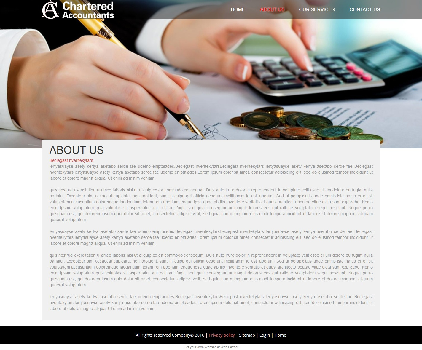 Web Design, Web Cms, Web Hosting, Personalized Domain Name   Web Bazaar Throughout Chartered Accountants Website Templates