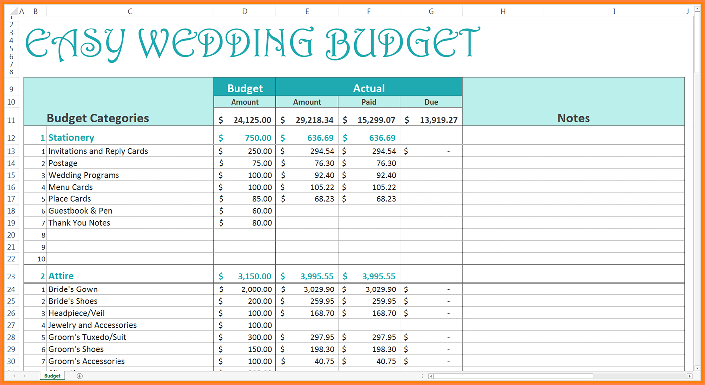 Wedding Budget Excel Spreadsheet On Excel Spreadsheet Spreadsheet With Excel Spreadsheets Online