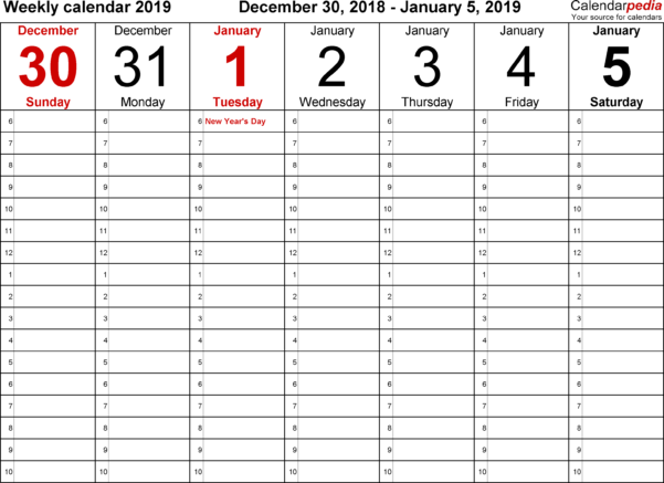 Weekly Calendar 2019 For Excel   12 Free Printable Templates Within Time Management Excel Template
