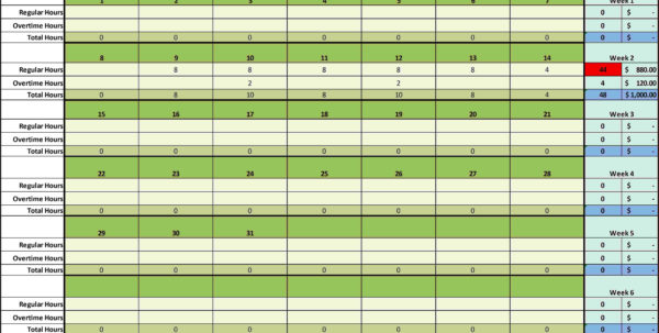 Weekly Hours Spreadsheet Timesheet Employee Hour Tracking Template To Employee Time Tracking Excel Template